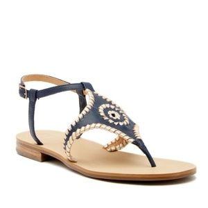 Jack Rogers Navy Metallic Maci Ankle Strap Sandals